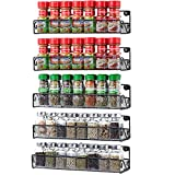 5 Pack Wall Mount Spice Rack Organizer for Cabinet Door Pantry Hanging Spice Shelf Storage,Black...