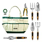 Gardening Tools, Garden Tools, Garden Tool Set, 5 Pieces Kit Gardening Gift Set, with 4 Heavy Duty Cast-Aluminium Tools and Garden Storage