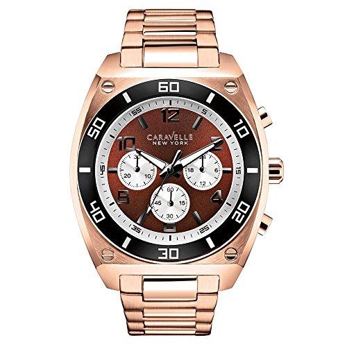 Caravelle New York 45A110 - Reloj analógico de Cuarzo para Hombres, Correa de Acero Inoxidable, Color Oro Rosa