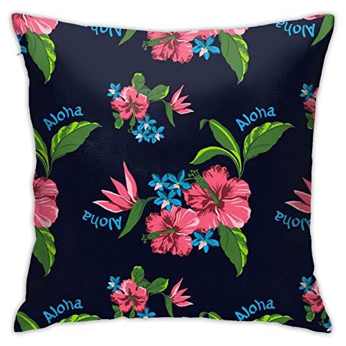 45x45cm Fundas Cojín Almohada Microfibra Flores Hawaianas Decorativa con Cremallera Invisible Funda Cojín