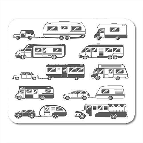 Mauspads zubehör auto-reisemobile schwarz weiß mit anhängern und autos flachachs-bus-mauspad für notebooks, Desktop-computer mausmatten, Büromaterial