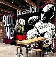 壁紙 壁紙3 d Graffitiジムスポーツクラブの背景の背景壁の壁画キャンバスレトロ3Dウォールステッカー壁画-3D_350x245cm