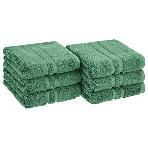 Amazon Basics GOTS Certified Organic Cotton Hand Towel - 6-Pack, Malachite Green