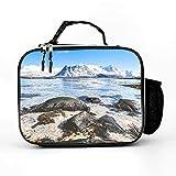 AXGM Bolsa isotérmica Noruega, islas naturaleza, paisaje, lago, bolsa de almuerzo, bolsa térmica elegante, bolsa de almuerzo aislada para camping, senderismo, picnic, color blanco, talla única