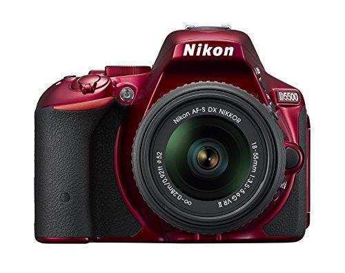 Nikon D5500 SLR-Digitalkamera (24,2 Megapixel, 8,1 cm (3,2 Zoll) Touchscreen-Display, 39 AF-Messfelder, ISO 100-25.600, Full-HD-Video, Wi-Fi, HDMI) Kit inkl. AF-S DX 18-55 VR II Objektiv rot