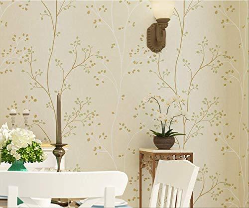 American retro pastoral deja papel pintado no tejido, dormitorio sala de estar TV fondo pared rama decoración de papel pintado, beige, 0.53mx10m