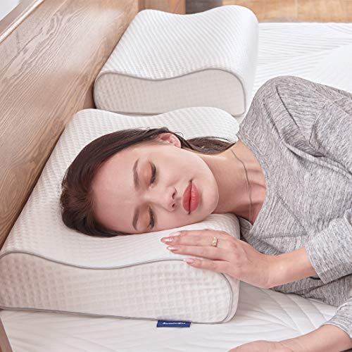 Sweetnight Nackenstützkissen Orthopädisches Kissen-Memoryfoam Kopfkissen gegen Nackenschmerzen/Rückenschmerzen für Seitenschläfer mit waschbare Kissenbezüge