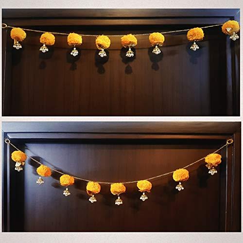 Decorative Buckets Bandhanwar Torans for Diwali Decorations toran for Door Handmade Indian Door Hanging/Wall Hanging/Door Valance Marigold Garland Indian Wedding Decorations Diwali décor