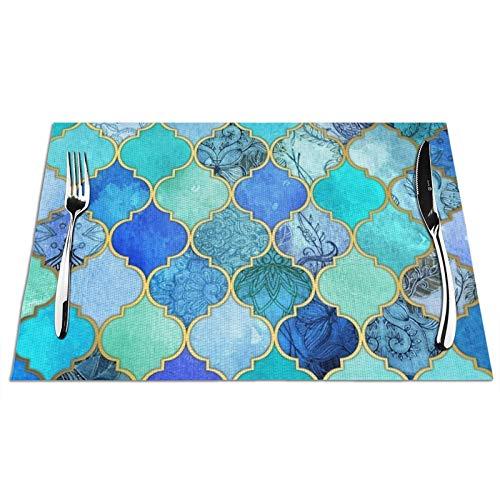 Uliykon Juego de 4 manteles individuales decorativos de azulejos marroquíes con aislamiento térmico lavable, antideslizante, vinilo tejido para cocina, comedor, restaurante, 45,7 x 30,5 cm