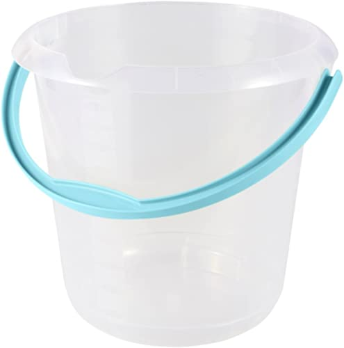 keeeper Bucket with Integrated Measuring Scale and Ergonomic Handle, 10 Litre, Mika, Transparent