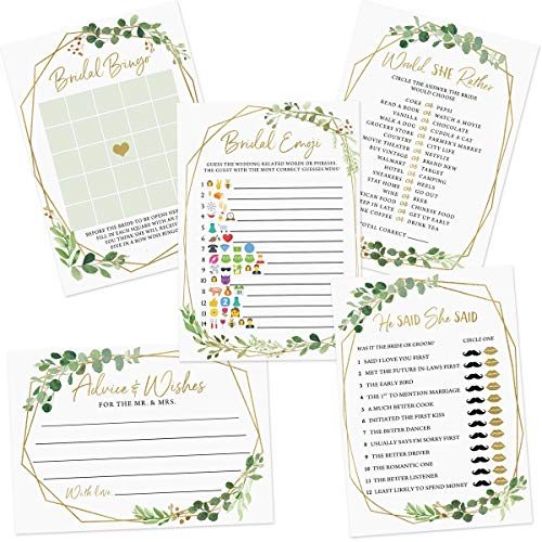 Bridal Shower Shower Game Set, 5 Games, 250 sheets, Gold Greenery Theme, Bridal Bingo, Emoji Pictionary, Advice and Well Wishes, He Said She Said, Would She Rather