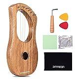 7 Cuerdas Arpa, ammoon Lyre Harp para Niños, Principiantes, con Herramienta de Ajuste, Bolsa de Transporte, etc(Terminalia material de madera)
