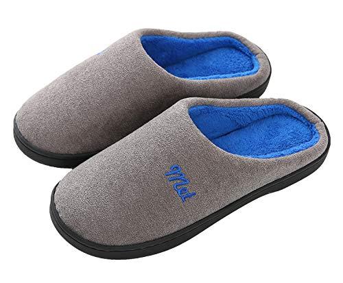ChayChax Zapatillas de Estar por Casa para Hombre Mujer Cálido Forro Pantuflas de Invierno Interior,Gris Oscuro-Azul,44/45 EU