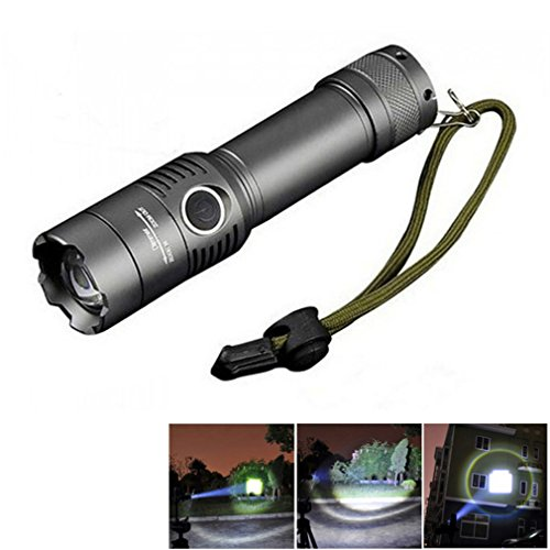 Starall 2000LM XM-L T6 3 modes d'éclairage LED Lampe torche tactique Zoomable lampe torche rechargeable Camping Chasse spot