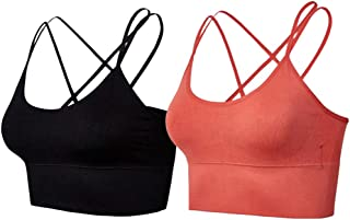 Lianshp Cross Strappy Sports Bra for Women,Girl's Tranning Bra,Pack of 2,BR,XL