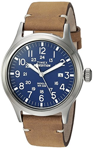 Timex Men's TW4B01800 Expedition Scout 40 Tan/Blue Leather Strap Watch