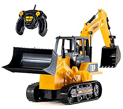 Top Race 8 Channel Full Functional RC Excavator Backhoe Loader, Battery Powered Electric RC Remote Control Construction Tractor with Lights & Sound TR-119 from Top Race