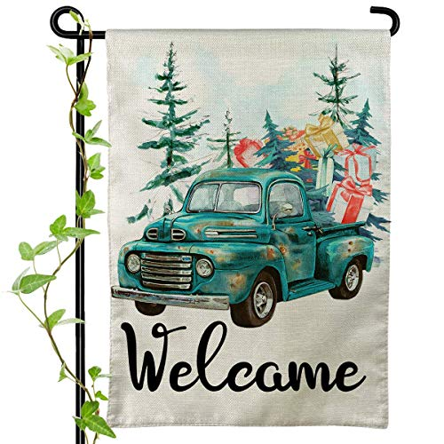 Cokosoxo Welcome Winter Garden Flag Blue Truck with Gifts Decorative House Yard Outside Flag Bonsai Tree Rustic Farmhouse Outdoor Decoration 12x18