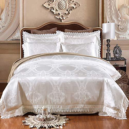 Cnspin Satin Jacquard bettwäsche Baumwolle Schlafzimmer Flache königin Bett auskleidungen Schlafzimmer Luxus super weich 1 Duvet Abdeckung 1 Bett Blatt 2 kissenbezüge,D,200CMX230CM