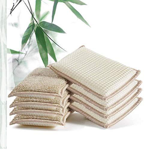 JEBBLAS Bamboo Natural Absorbent Sponges Kitchen Cleaning Sponges Reusable Dish Washing Sponges Beige (8 Pack)
