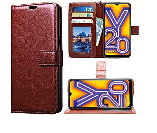 Coverage Vintage Leather Flip Cover for Vivo V2029 / Vivo Y20 - Cherry Brown