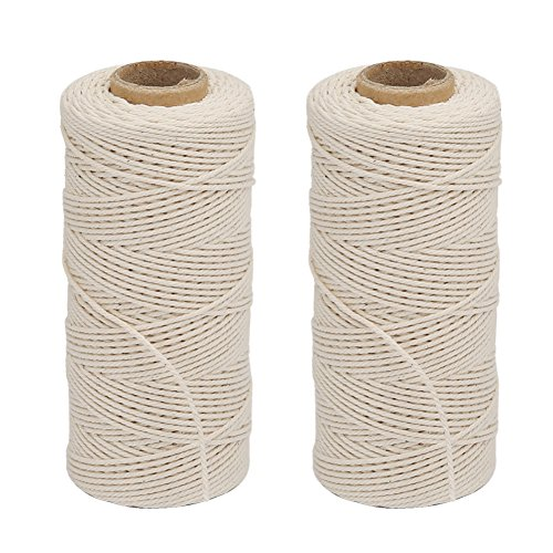 Vivifying cordón de algodón, 2 x 328 pies apto para alimentos cocinar carne de cordel para atar, hacer salchicha (blanco)