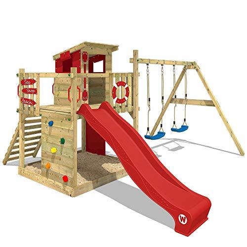 WICKEY Parque infantil de madera Smart Camp con columpio y tobogán rojo Casa de juegos da exterior con arenero y escalera para niños