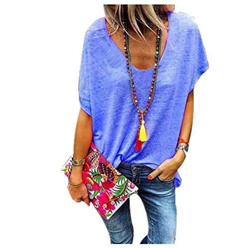 Camiseta Mujer De Gran Tamaño Caramelo Color V Cuello Señoras Sudadera De Manga Corta Camiseta De Verano De Las Mujeres Suelta Top - azul - XXX-Large