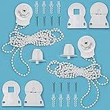 GIAK Juego de 2 accesorios para estor de repuesto, longitud de la cadena, 2 m, color blanco, para la reparación de persianas de 25 mm, con soporte de cadena