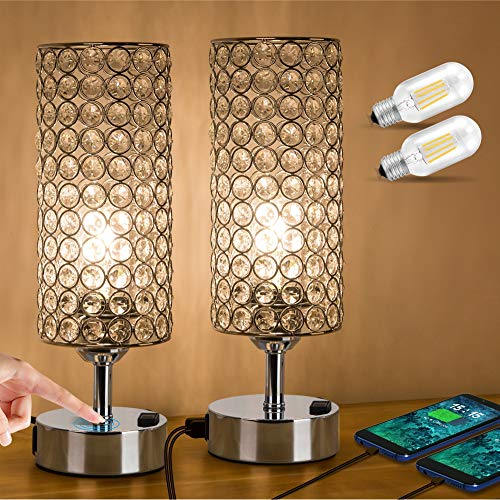ZEEFO Touch Control Crystal Table Lamp, Modern Elegant Decor Nightstand Lamps Built-in Dual 5V/2.1A USB Ports & AC Outlet, Dimmable Bedside USB Lamp,Silver Crystal Lamps Perfect for Bedroom(Set of 2)