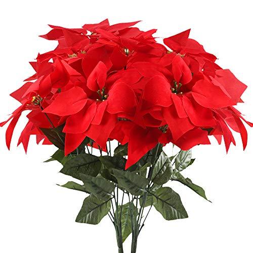 XHXSTORE 2pcs Weihnachtsstern künstlich Plastikblumen Künstliche Poinsettie Kunstblumen Kunstpflanzen Dekoblumen für Weihnachten Tischdeko Balkon Draußen Dekoration Rot