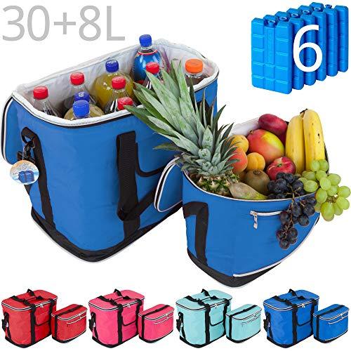 MABAMAHO Kühltaschen-Set Ibiza 30+8 Liter mit optional 6 Kühlakkus für Picknick, Grillen, Wandern (Mit 6 Kühlakkus, Blau)