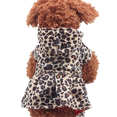 Howstar Puppy Clothing, Pet Dog Leopard Hoodie Coat Lovely Warm Apparl Outfit (Brown, S)
