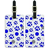 Graphics & More Luggage Suitcase Carry-on Id Tags-Paw Print Cat Dog-Blue, White