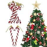Threan 12 Adornos de Bastón de Caramelo Navidad Adorno Bastón de Caramelo Muleta de Caramelo de Plástico Retorcido Bastón de Caramelo Brillante Accesorio Colgante para Árbol Navidad (Rojo)