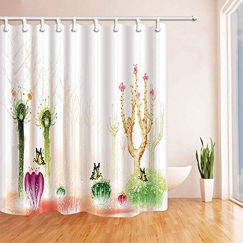 QAQ Starry Sky Douchegordijn, planten, aquarel Saguaro, vetplanten, cactus, met vlinder, voor kinderen, polyester, waterdicht