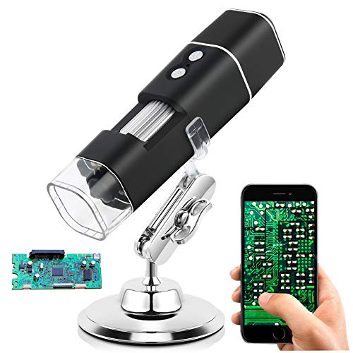 Wireless Digital Microscope, Handheld USB HD Inspection Camera 50x-1000x Magnification with Stand Apply for Skin/Hair/Money/Jewelry/Print Industrial/PCB Material/Biological Inspection Inspection etc