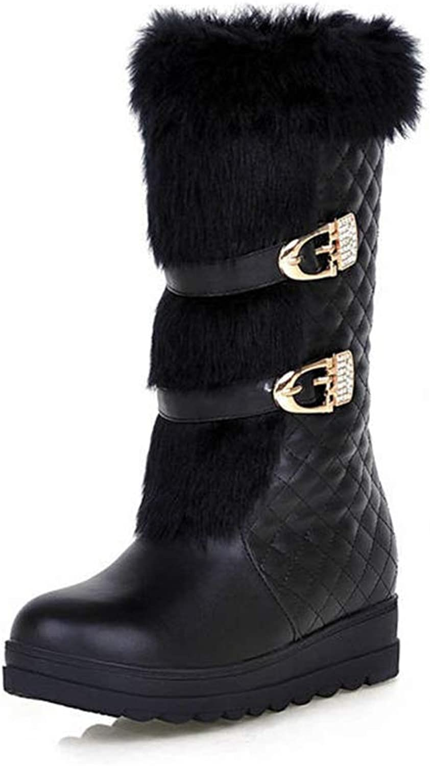 T-JULY Women's Ankle High Boots Sweet Round Toe Keep Warm Winter Snow Boots Buckle Simple Fashion Casual shoes