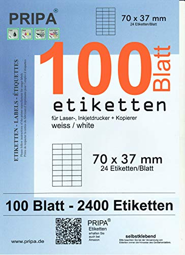 pripa - Amazon FBA Versand Etiketten 70,0 x 37,0 mm - 24 Stueck auf A4-100 Blatt DIN A4 selbstklebende Etiketten - DHL Post