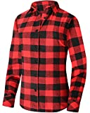 Flannel Shirt Womens Plaid Long Sleeve Regular Fit Button Down Casual Cotton red