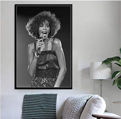 MKAN Whitney Houston Super Music Pop Singer Art Painting Canvas Poster, Wall Home Decor Painting50X70Cm Unframed