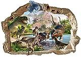 Dinosaurier-Wandaufkleber 3D entfernbare PVC-Hauptwanddekor-Jungen und Mädchen Schlafzimmer T-REX Aufkleber-Tapeten-Abziehbilder für Kinderzimmer Jurassic Weltdinosaurier-Wandabziehbilder 47cm X 71cm