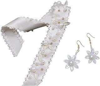 Lurrose Tocado de Novia Pendientes de Perlas Diadema de Boda Tocado Cinta de Pelo de Novia Accesorios para El Cabello para Banquete de Boda