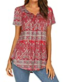 Women's Summer Boho Tops Short Sleeve Floral Henley V Neck Top Casual Tunic Blouse Loose Shirt Red M