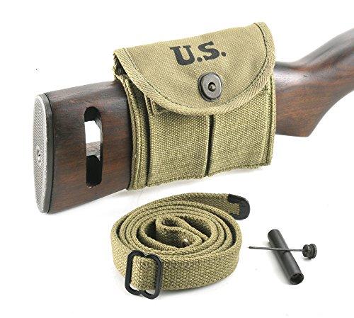 World War Supply M1 Carbine Sling, Oiler, & Buttstock Pouch Lt. OD Marked JT&L 1943