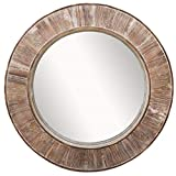 Barnyard Designs 31.5' Round Decorative Wall Hanging Mirror, Large Wooden Circle Frame, Rustic Distressed Wood Farmhouse Mirror for Bedroom, Bathroom or Living Room Wall Decor, Brown