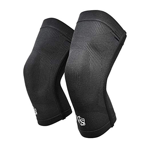 Zthluyc Thread Count Knee Support Sleeves for Germanium Thin Knee Braces for Running, Basketball, Hiking, Gym, Workout, Sports (1 Pair)-Large