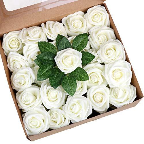 VINFUTUR 50pcs 8cm-Flores Rosas Artificiales Decorativas Jarrón Mesa Rosas Falsas Blancas Espuma con Hojas Ramos Artificiales para Decoración Boda Fiesta Hogar Manualidad DIY