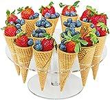 YBK Tech - Porta coni per gelato in acrilico trasparente, 16 fori per feste di compleanno, baby shower, feste di fidanzamento, eventi di cater, Natale, tea party, ecc.
