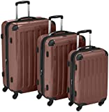 HAUPTSTADTKOFFER - Alex- Set of 3 Hard-side Luggages Trolley Suitces Expandable, (S, M & L), brown